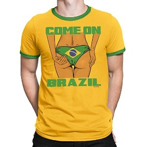 Buzz Shirts Mens Brazil Sexy Bum Football T-Shirt - World Cup 2018 Fan Sports