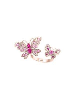 钻石红宝蝴蝶戒指