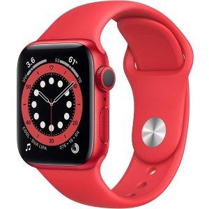 $329拿下 包邮 表白好礼Apple Watch 6 40mm GPS 红色表壳配红色运动表带