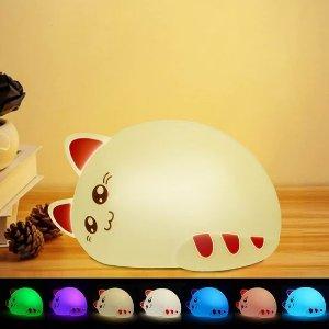 $9.99(原价$19.98) 免税白菜价:CNSUNWAY 小猫咪 7色LED 儿童硅胶夜灯 充电式