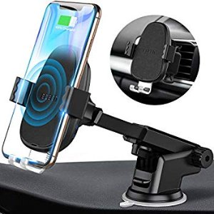 Amazon.com: BEBEN Wireless Car Charger Mount, Automatic Clamping Windshield Dashboard Air Vent Phone Holder, Qi Fast Charging Compatible with iPhone Xs Max XR X 8 8+, Samsung and LG (Charger Adapter not Include): Automotive