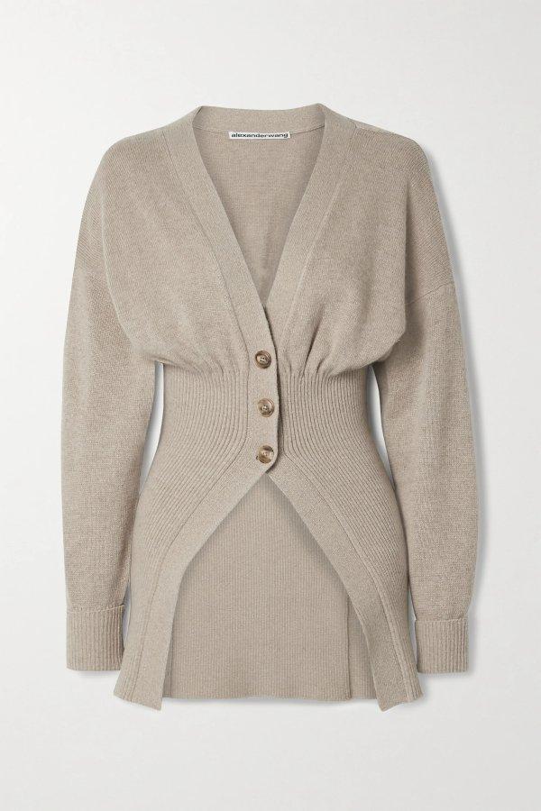 Ribbed-knit 毛衣外套