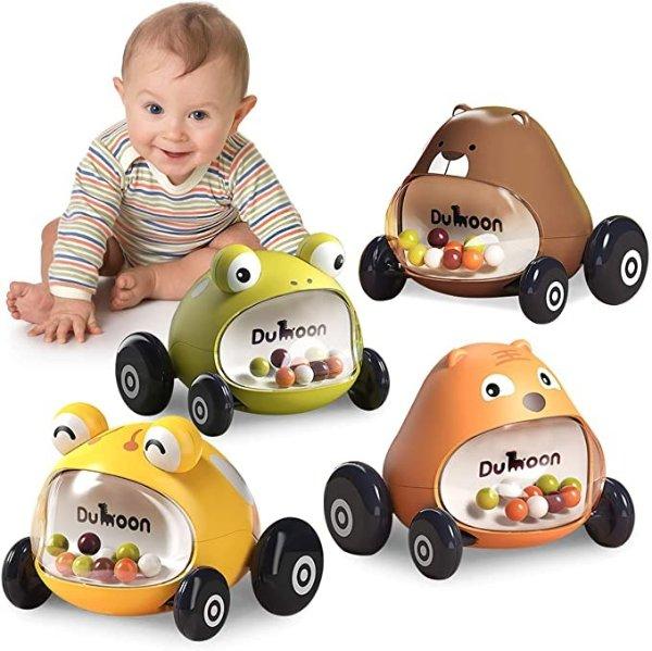 迷你动物卡通玩具车,4个装
