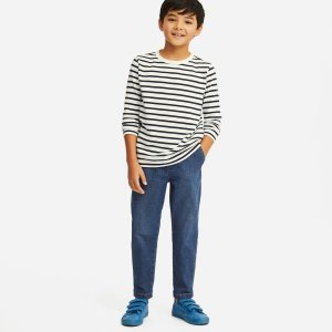 UniqloBOYS ULTRA STRETCH DENIM TAPERED ANKLE PANTS