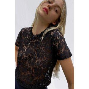 French ConnectionYuki Lace Short Sleeve T-Shirt