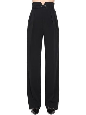 Red Valentino HIGH WAIST BELTED VISCOSE CREPE PANTS