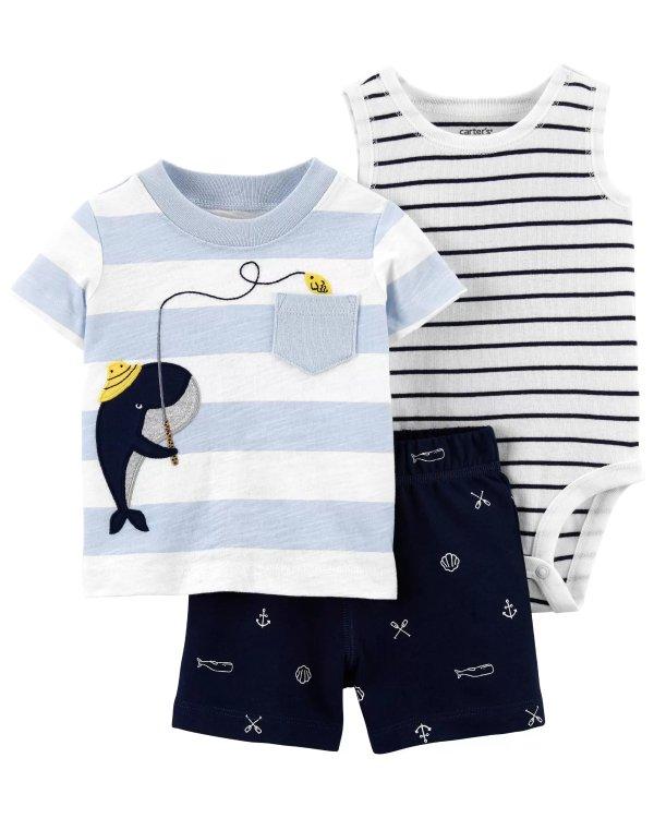 婴儿小鲸鱼3件套