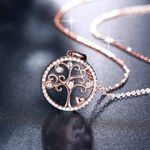 $21.87 (原价$167.87)闪购:J.Rosée 生命之树 925纯银锆钻项链 送给妈妈好礼物