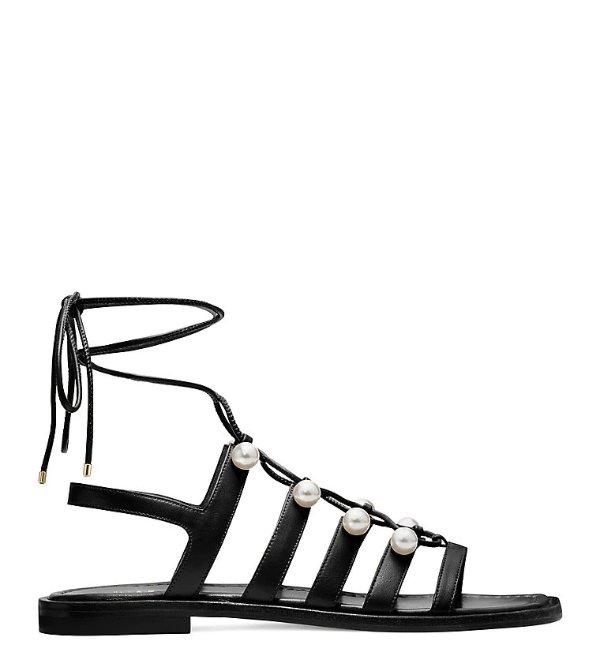 GOLDIE 珍珠绑带罗马凉鞋 黑色