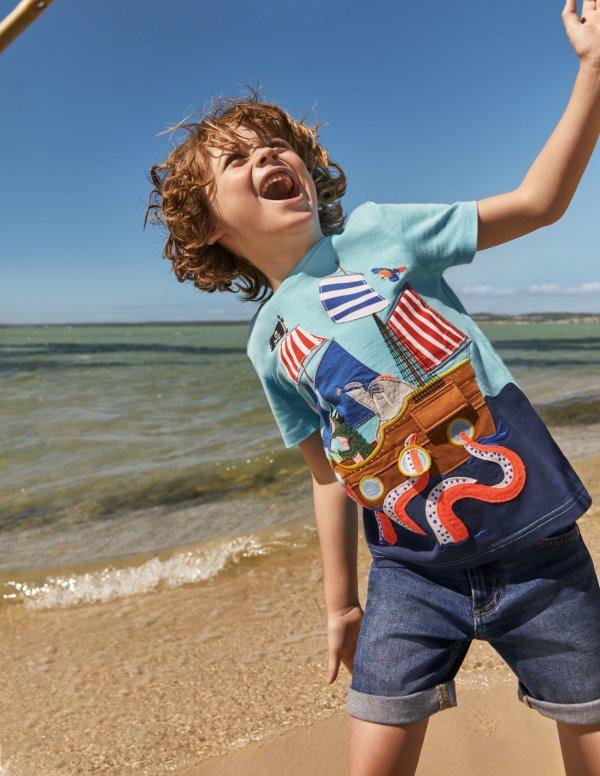儿童海盗船贴布绣T恤