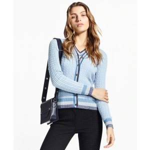 Brooks BrothersShimmer-Stripe Cable-Knit Supima Cotton Cardigan