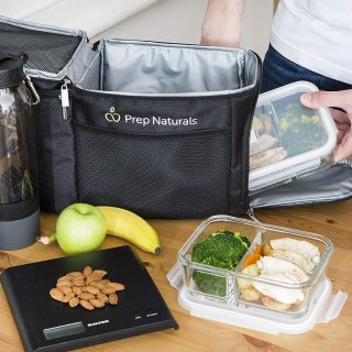 Prep Naturals Glass Meal Prep Containers Glass 2 Compartment (3 Pack)