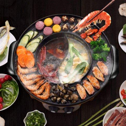 $106.99(原价$159.99)Food Party 电热烧烤鸳鸯火锅一体机 双控温技术 聚餐神器