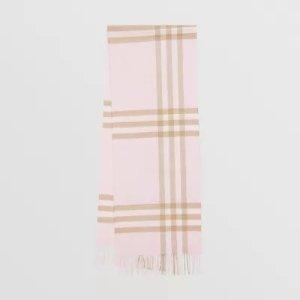 Burberry粉色格纹围巾