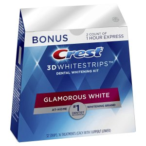 Crest 3D Whitestrips Glamorous White, Teeth Whitening Kit, 16 Treatments + 2 Bonus 1-Hour Express Treatments
