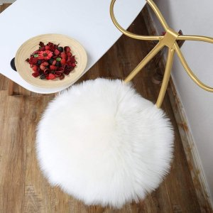 LOCHAS Super Soft Round Seat Cushion Faux Fur Sheepskin Chair Cover Pad Plush Rugs for Living & Bedroom Sofa