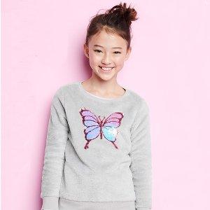 Oshkosh女童、大童蝴蝶亮片绒绒上衣