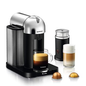 Nespresso Vertuo Coffee and Espresso Machine Bundle with Aeroccino Milk Frother by Breville, Chrome @ Amazon