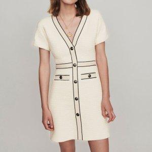 Maje白色针织连衣裙