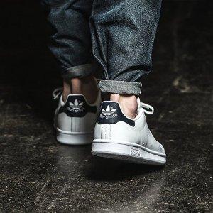 $77包邮(原价$110)黄金码抢adidas Originals Stan Smith男款黑尾小白鞋 经典值得入手