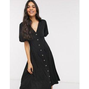 French Connection – Serafin – Anschmiegsames Kleid in Schwarz mit Knopfleiste | ASOS