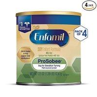 Enfamil ProSobee 大豆配方,不含乳糖,适合肠胃敏感宝宝 22 盎司,4罐
