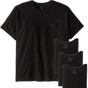 $5 (原价$15.99)Hanes 男士T恤4件装