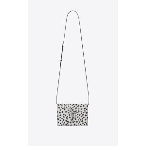 KATE Toy bag in white Elaphe with black polka dots