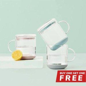 硅胶垫玻璃带盖马克杯