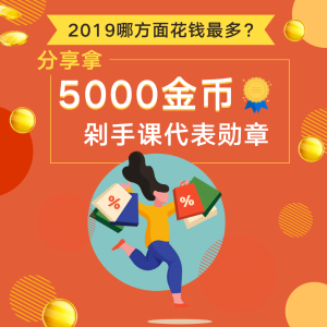 最高拿5000金币+剁手课代表勋章已颁奖 | 2019你在哪方面花钱最多?剁手课代表请答题