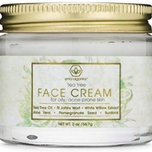 Tea Tree Oil Face Cream - For Oily, Acne Prone Skin 2oz Natural & Organic Facial Moisturizer with 7X Ingredients For Rosacea, Cystic Acne, Blackheads & Redness @ Amazon.com