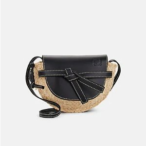 LoeweGate Mini Leather & Straw Shoulder Bag