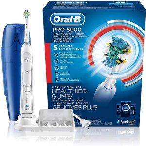 $79.94(原价$89.94) 送旅行收纳盒Oral-B Pro 5000 智能电动牙刷 2色可选
