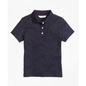 Girls' Navy Short-Sleeve Polo Shirt | Brooks Brothers