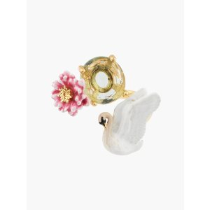 Les NereidesA Simple Swan White Swan and Pink Water Lily Adjustable Ring