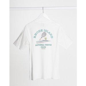 ASOSoversized t-shirt with retro rhode island tennis graphic in white | ASOS