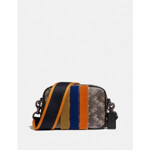 CoachCamera Bag 16 With Horse and Carriage Print and Varsity Stripe