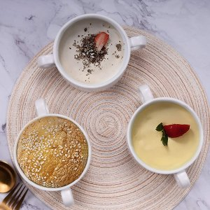 AQUIVER 法式双耳陶瓷汤碗 烤碗  3个装 10oz 多色可选
