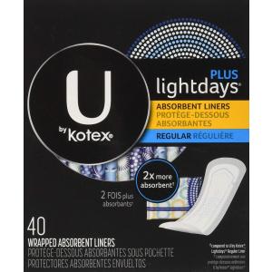 $3.77(原价$5.49)U BY KOTEX 无香型日用护垫 40片装 你的姨妈好伙伴