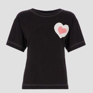 $62(原价$175)Armani 精选女士爱心黑色T恤特价