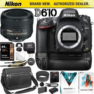 Nikon D610 DSLR + 50mm F1.8G + Battery Grip Kit