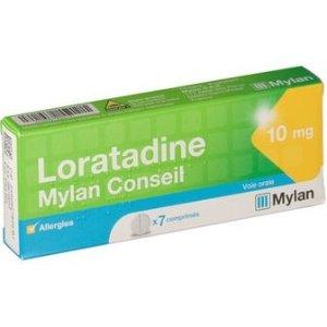 适合12岁以上Loratadine Mylan Conseil 10 mg 抗过敏药片