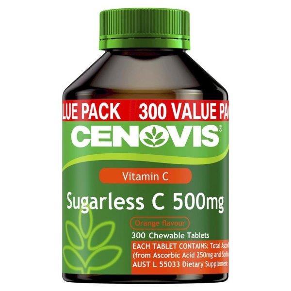维生素C 500毫克无糖 300 Chewable Tablets
