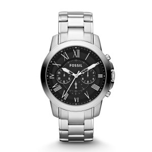 Fossil Mens Grant Chronograph Stainless Steel Watch