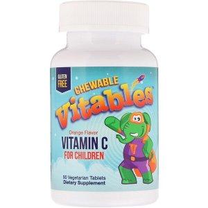 满$50再减$10Vitables 儿童维生素C咀嚼片 橘子味 90粒