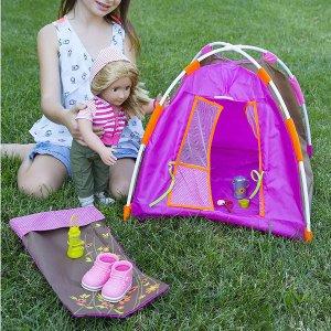 $20.99(原价$33.99)Our Generation 洋娃娃野营玩具套装 迷你帐篷、睡袋、餐具