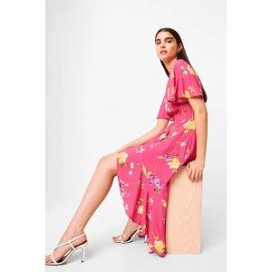 French ConnectionEmina Drape Cascade Hem Belted Dress