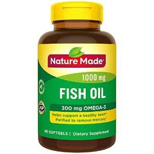 Nature Made鱼油 1000mg + Omega-3 300mg 胶囊 90粒
