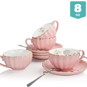 Sweejar Royal Ceramic Tea Cups and Saucers Set