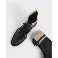 针织拼接短靴
